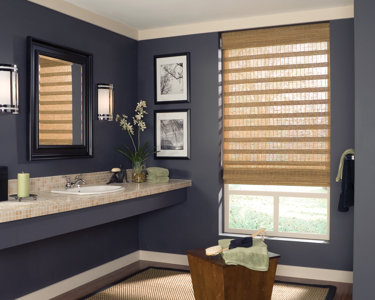 Superbe Provenance® Woven Wood Shades With Standard Clutch In The Bathroom. Room  Style: Contemporary, Casual.