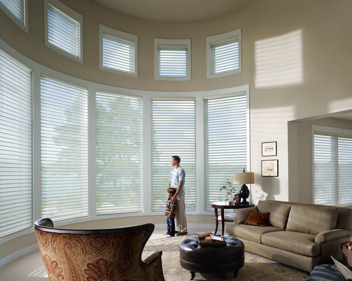 Modern window shades blinds - Silhouette_powerrisetwoone_livingroom_3 March 26 2013 By Peninsula Window Coverings