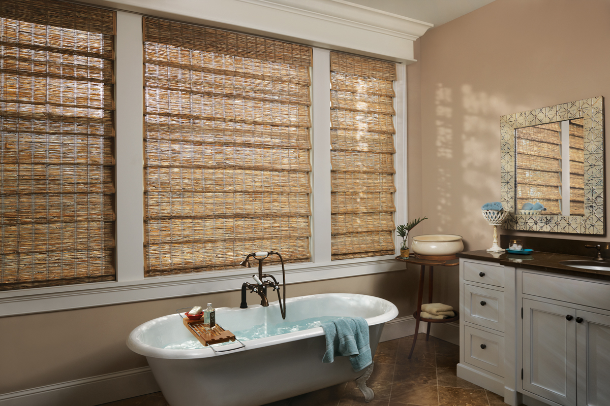 Provenance Woven Wood Shades With Cordlock In The Bathroom Room Style Transitional
