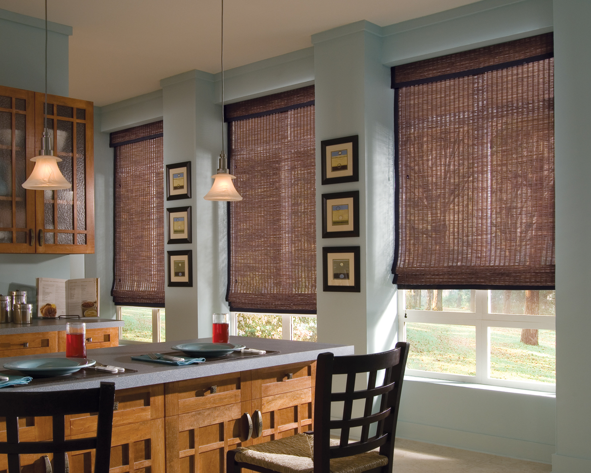 Merveilleux Provenance Woven Wood Shades With Cordlock In The Kitchen Room